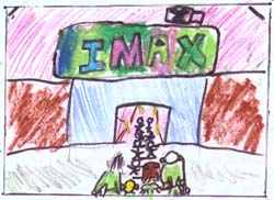Drawing of a crowd and the Brains family entering IMAX.